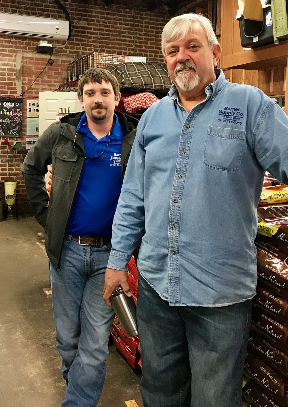 Gary George and his son, Jonathan, at Barnes Supply Co.