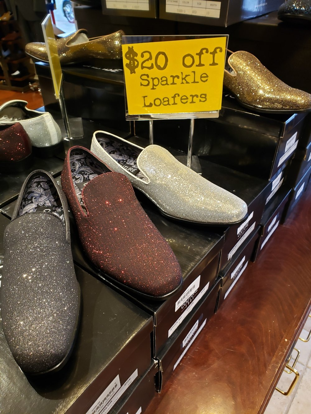 For the style maven: - From Bernard's Formal Wear, Durham's go-to for proms, weddings, and all of life's big events:Sparkle Loafers (do we really need to say anything else about these amazing shoes?)! Great for the gentleman in your life who isn't afraid to step things up a notch when it comes to style.