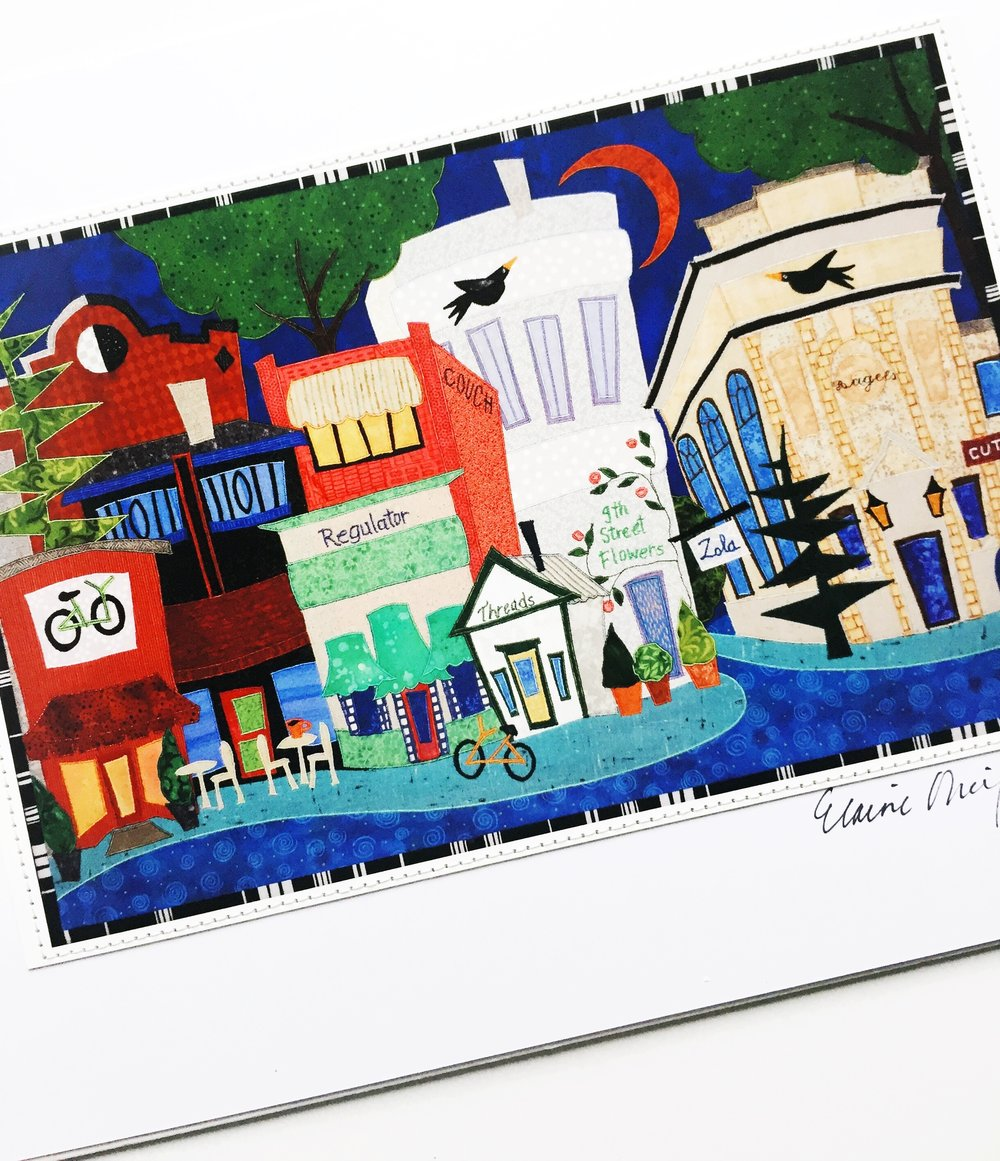 For the artist: - From Zola Craft Gallery, this beautiful, vibrant print of our beloved 9th Street by artist Eliane O'Neil. Great for Durhamites and collectors of eclectic art.