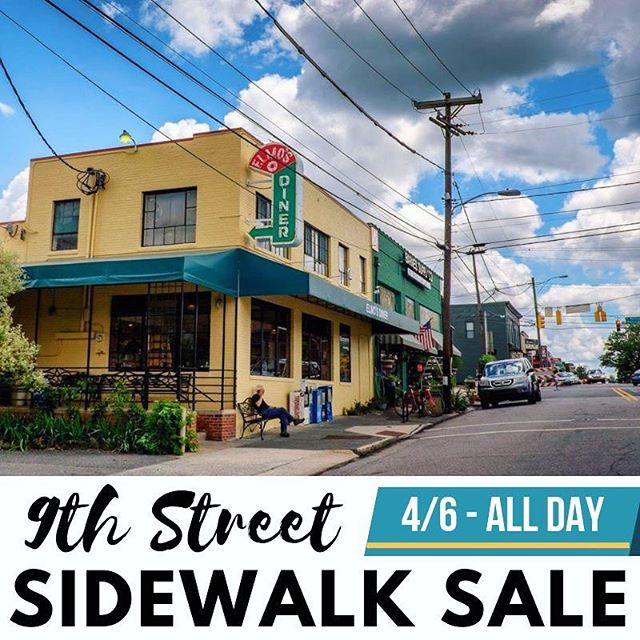 Our spring Sidewalk Sale is this Saturday! Spend the day shopping local and find amazing deals at @yogaoffeast, @vintagehomesouth, @barnessupplyco, @regulatorbookshop, @oneworldmarket, @vaguelyreminiscent, @zolacraftgallery, & more! #sidewalksale #shoplocal #spring #discover9thstreet #neighborhood