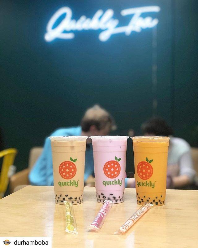 This gorgeous spring day calls for some gorgeous (and tasty) pastel drinks!  #Repost @durhamboba • • • • • Our Charlie's Angels (minus Jasmine) 😉 Classic, Taro, Thai. Large, baby! @aayush_goradia has got good taste. #milktea #boba #bubbletea #durham #tea