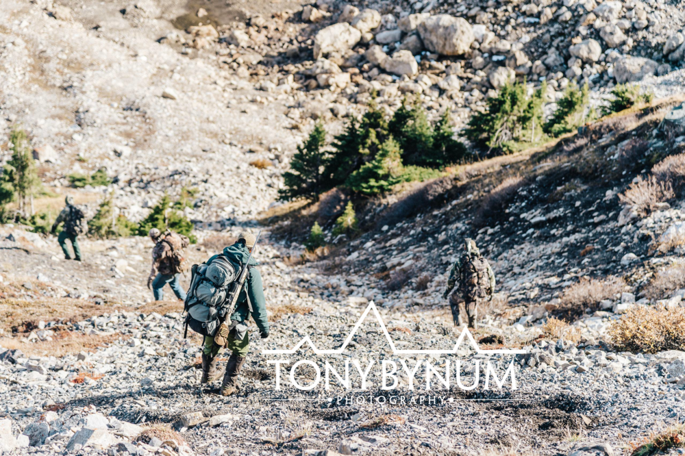 Sheep hunters carefully descending down an avalanche chute in the Rocky Mountains. One is carrying a Stone Glacier Pack and Kimber rifle. © Tony Bynum
