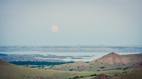 moon rise over fort peck lake