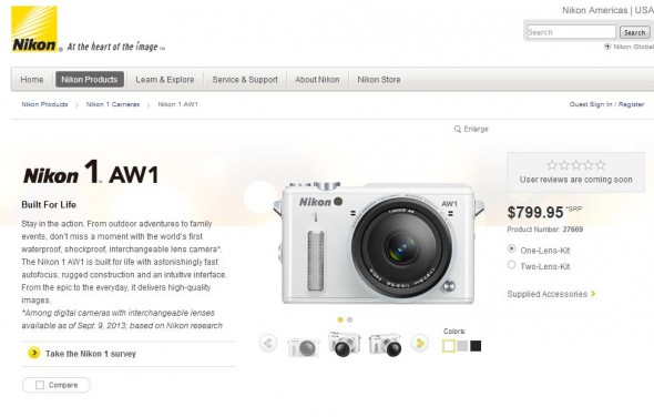 From Nikon's website, the Nikon 1 aw1