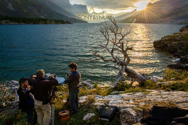 photograph of filming imax movie national parks adventure in glacier national park