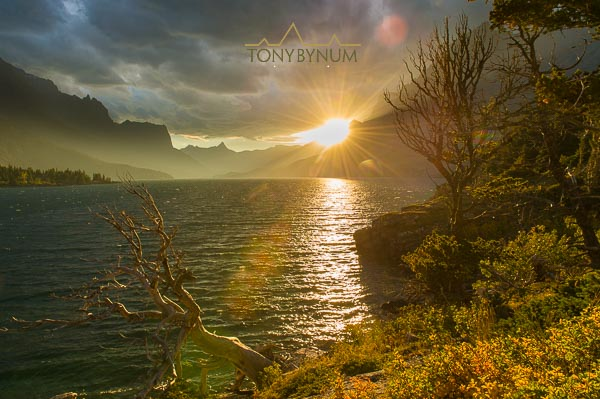 photograph of sunset over saint mary lake, glacier national park, montana