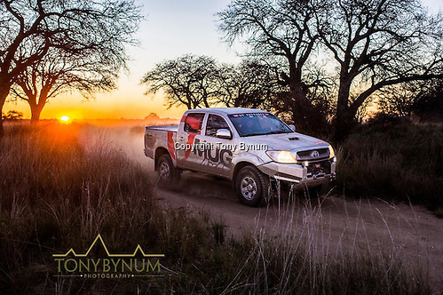 Hilux Toyota pickup with warn winch, early morning driving in La Pampa, Argentina. ©tonybynum.com