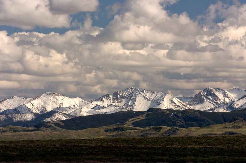The Badger area of the Rocky Mountain Front as seen from the Blackfeet Indian Reservation.