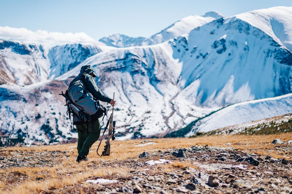 Tom Opre picking up his Kimber Mountain Ascent Rifle wrapped in Sitka camo, topped with a Trijicon scope, while on a bighorn sheep hunt in Alberta, Canada with Landen Collings, Pete Brownell, and Tony Bynum. © Tony Bynum