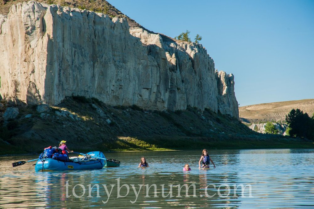 My kids swimming in the Missouri River at the White Cliff - Upper Missouri River National Monument. © Tony Bynum