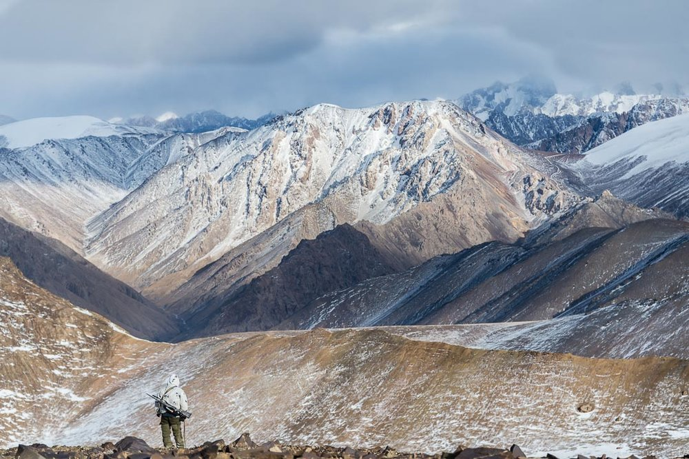 Marco Polo Sheep hunt in the Tian Shan Mountains of southern Kyrgyzstan, Gunwerks rifle. © Tony Bynum