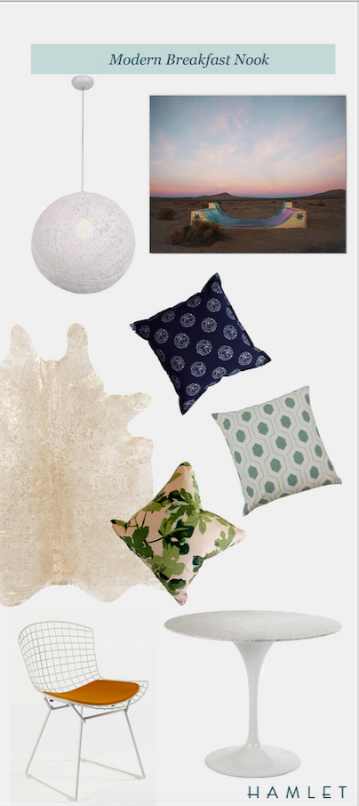 Stilnovo Chaos Pendant Light | Max Wanger Desert Ramp Print | Luru Home Indigo Dot Dot Dot Pillow | The Pillow Collection Flynn Geometric Pillow | West End Accents Peter Dunham Fig Pillow | Surya Limu Hair on Hide Rug | Bertoia Side Chair | France & Son Marble Tulip Side Table