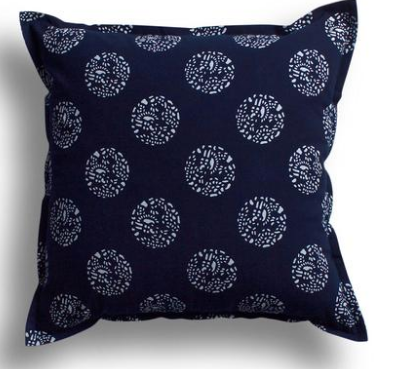 Luru Home Indigo Dot Dot Dot Pillow, $90