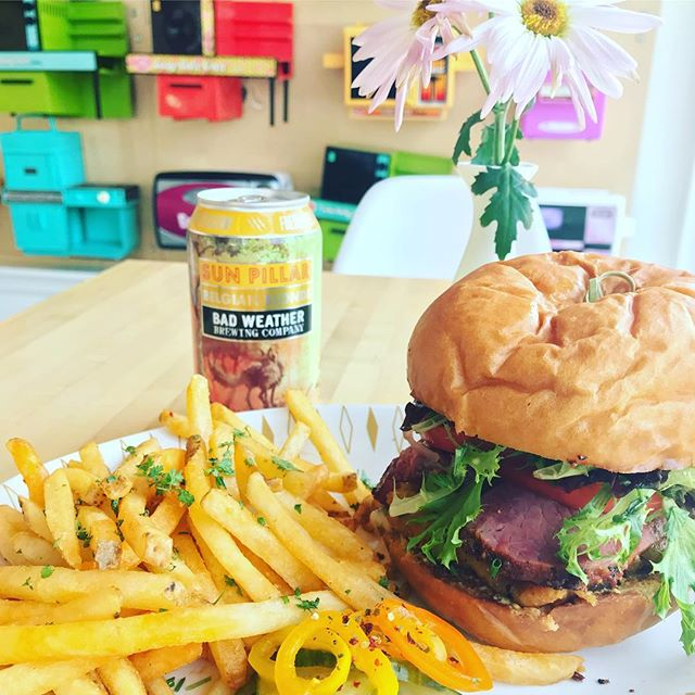 Pastrami burger. It's what's for lunch(or breakfast:) at Lucky Oven this weekend!