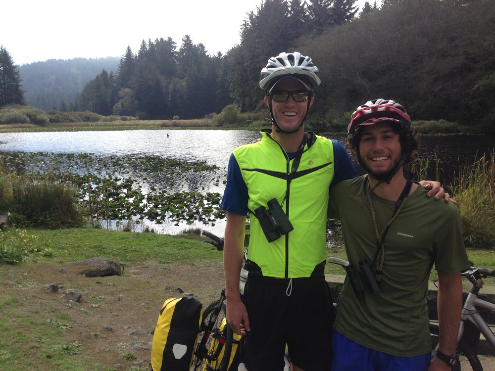 Kevin and Darrow on the inaugural birding bike tour that started it all.