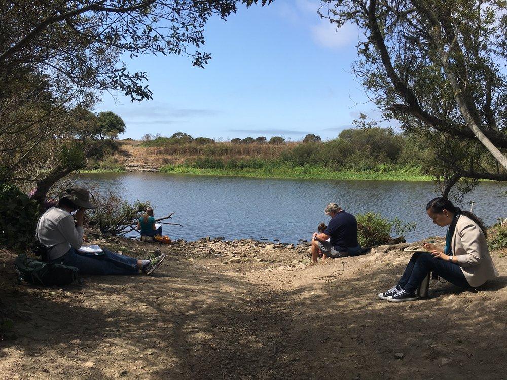Journaling during a teacher workshop at Antonelli Pond in Santa Cruz, CA.