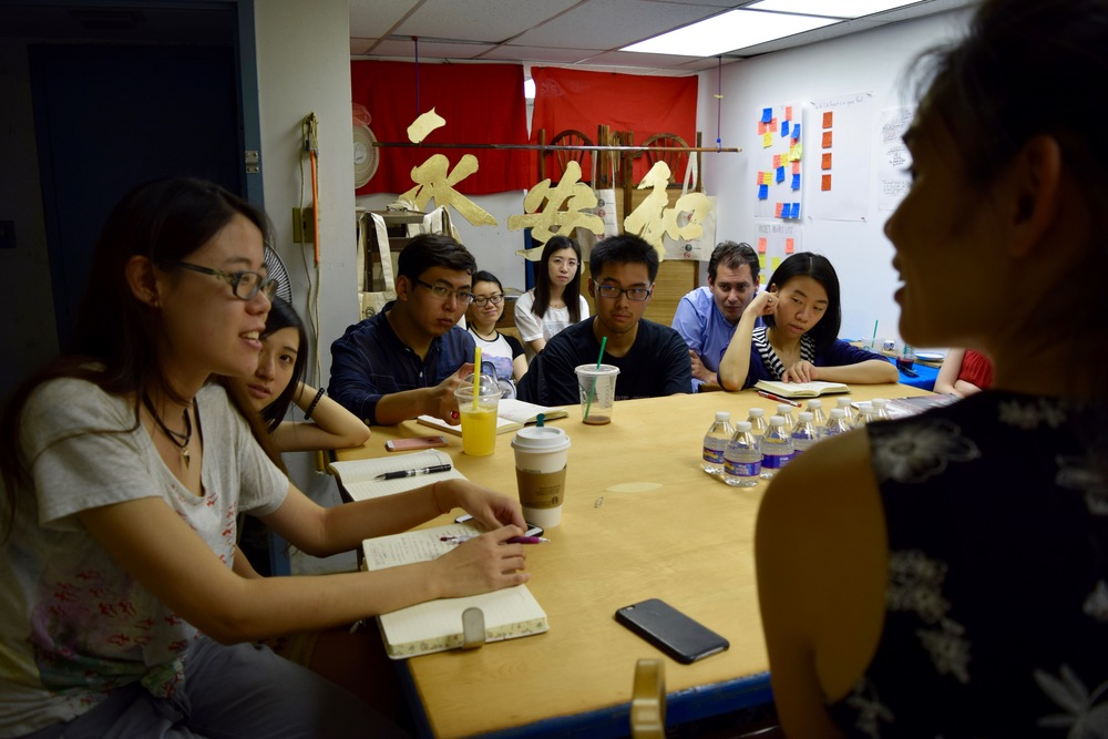 Photo credit: Donna Karimi // Young scholars discuss how their communities in China have been effected by gentrification and development.