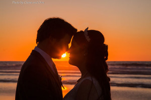 Wedding Couple Sunset at Scripps Seaside Forum