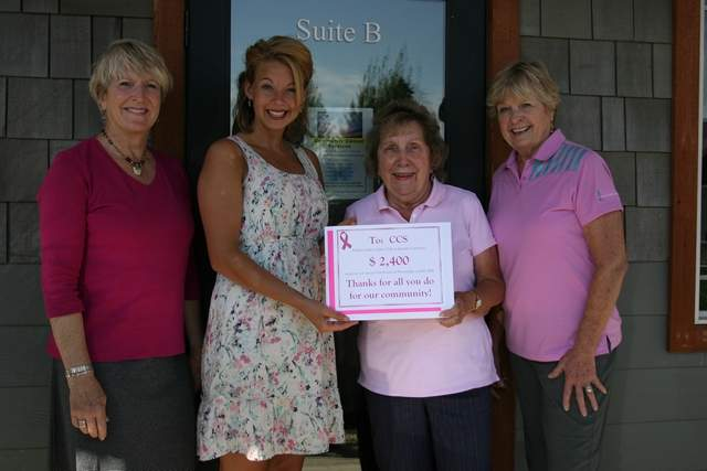 —Photo by ERIC PLUMMER The Hidden Lakes Ladies present Community Cancer Services with a $2,400 check Wednesday. Pictured, from left, are Janis Goff, HLL treasurer; Helen Andring, CCS office manager; Alice Coldsnow, HLL captain; and Nancy McCanlies, HLL board member.