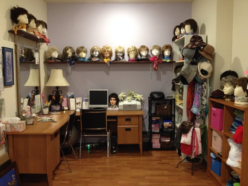 Our Boutique contains wigs, hats & scarves to keep you warm & looking your best while going through treatment. We also have other items to give away or lend out as needed including walkers, canes, wheel chairs shower chairs & more.