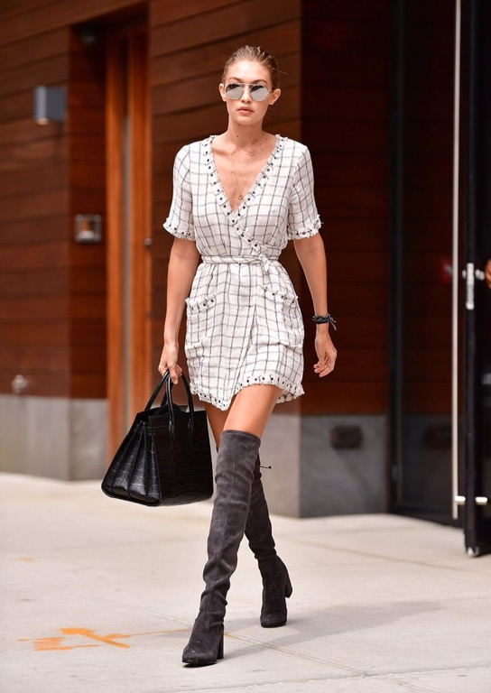 """Gigi Hadid in the """"Rocky"""" wrap dress 