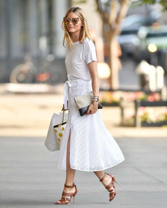 "Olivia Palermo in the ""Poppy"" skirt | Designed by Noelle Cruz for TULAROSA"