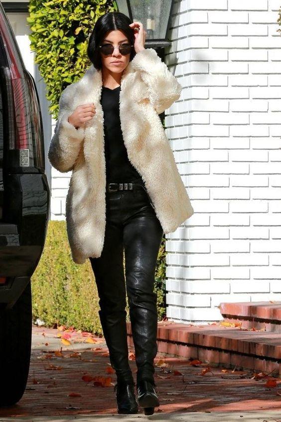 "Kourtney Kardashian in the ""Violet"" shag coat | Designed by Noelle Cruz for TULAROSA"