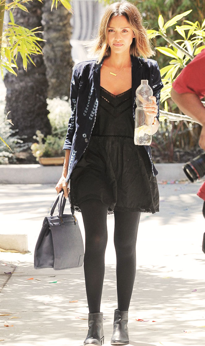 "Jessica Alba in the ""London"" slip dress | Designed by Noelle Cruz for TULAROSA"