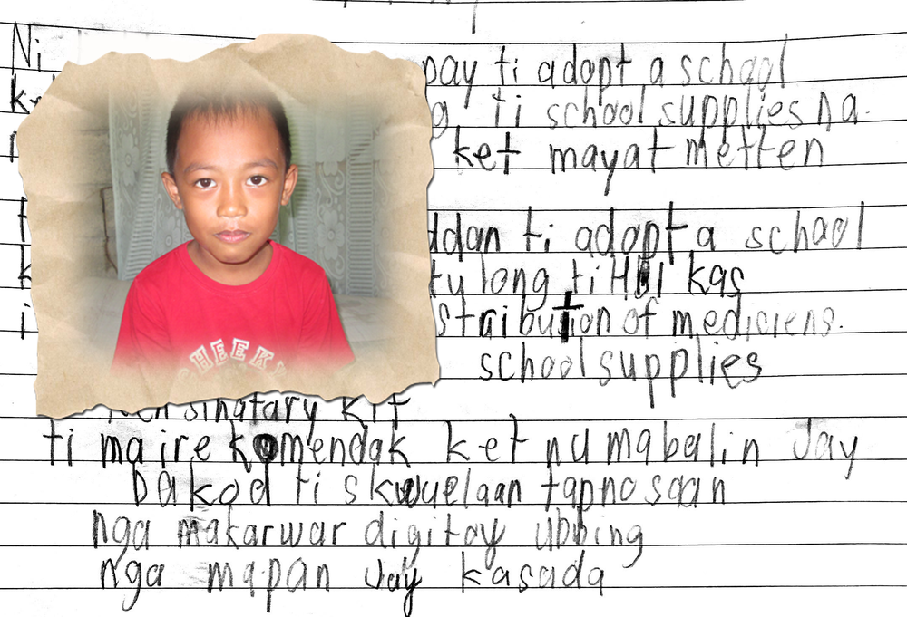 Handwritten on a page in his school exercise book, he wanted to tell us how iCARE's Adopt-a-School program is helping him and say 'Thank You' to iCARE.  -
