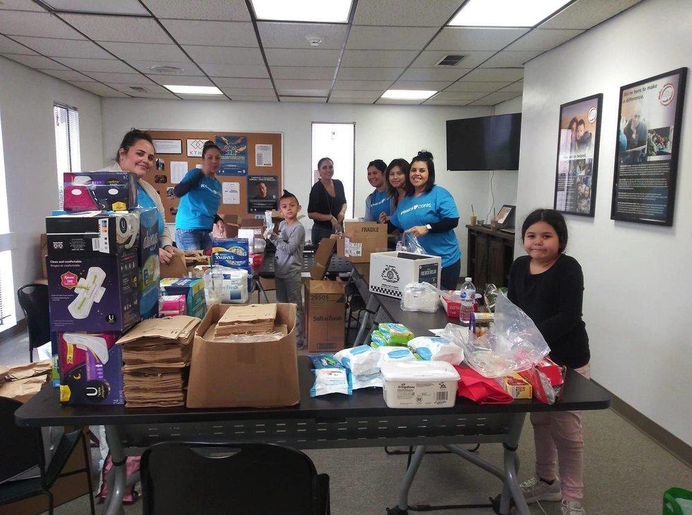 Kohl's Cares volunteers building hygiene kits
