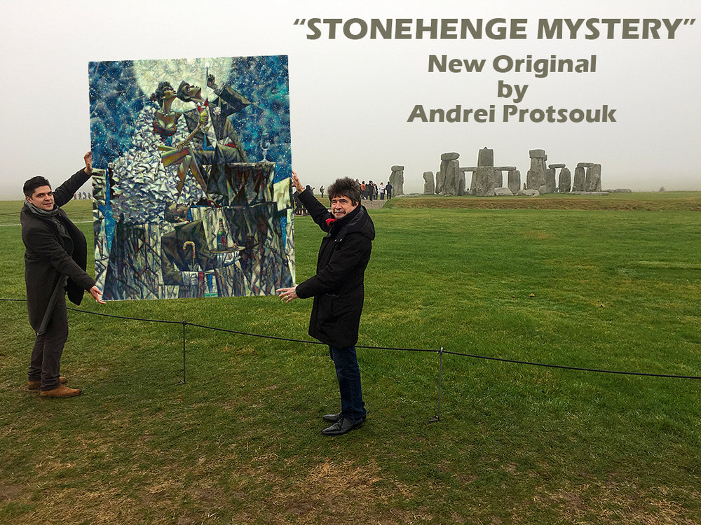 "Andrei Protsouk (Right) Dennis Protsouk (Left) at the Stonehenge  holding  Andrei's New Original ""Stonehenge Mystery"""