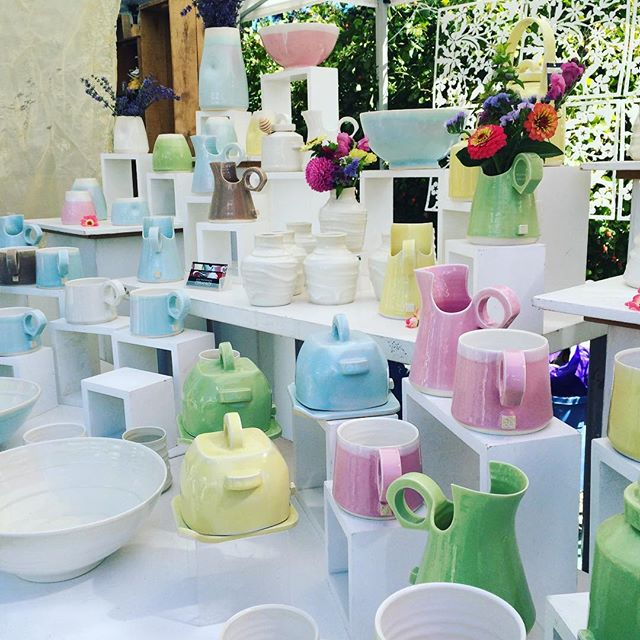 So I'm not exactly impartial as her assistant and friend, but I think @juliemackinnonceramics are perfect for the @great_british_bakeoff, don't you? #houseware #kitchen #saltspringisland  #ceramics #greatbritishbakeoff #canadianceramics #madeincanada #happy