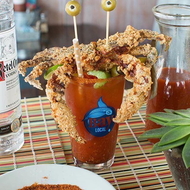 So I know garnishing  Caesars and Bloody Marys with lots of stuff is a thing, but this takes the cake. @steagermeister @kateross1829 ----#Repost @tastingtable with @repostapp ・・・ We only have eyes for you and for the killer all-day brunch at @bay_local. A Bloody Mary topped with a freshly fried soft-shell crab, anyone? @visitvabeach #visitvabeach #vbbaylife #sponsored