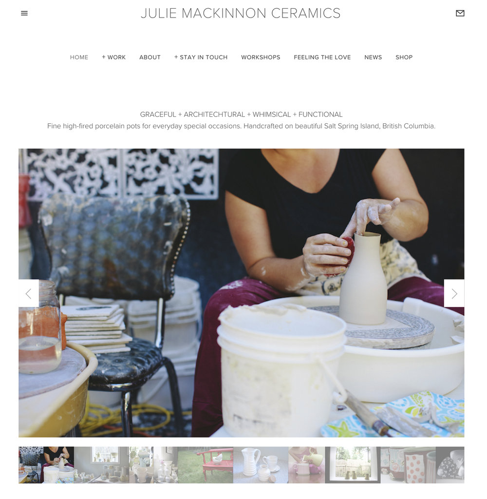 First version of Julie's site with preliminary photography. included an soft launch the online store.