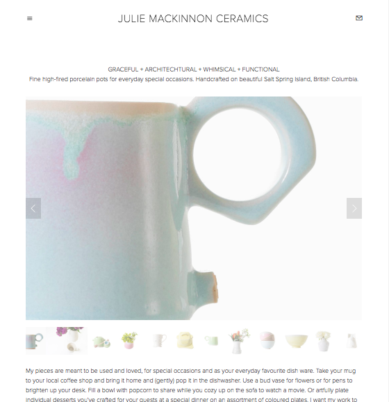 relaunch of julie's website with all new product photography. included a rebuild of the online store with new photography and to better reflect use of the store over a 12-month period.