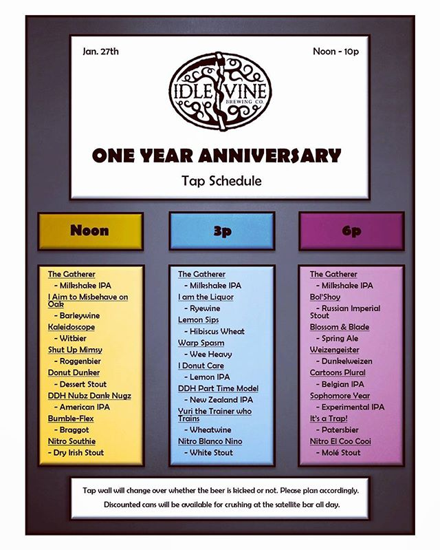 🔥ANNIVERSARY INFO🔥 ------------------------------------------- Mark your calendars because Saturday, January 27th is going to be silly. We are coming up on one year and we couldn't have done it without the support of YOU, the best customers in the world. We are changing the board over three times throughout the day allowing us to throw 27 different beers at you beautiful people. ----------------------------------- One of those beers will be our new monthly release, The Gatherer - Milkshake IPA. It will be on draft all day along with 100 bottles available on a first come first serve basis, limit two per person. ----------------------------------- We will have a satellite bar outside slinging cheap cans to help quench your thirst in case of long lines. To fill your stomach we have the delicious food by  @hechoenqueso from 12-5 and the best lobster rolls around by @garboslobster from 5-10. (Pro-tip: bring lawn chairs, it's going to be a packed house). ----------------------------------- It's safe to say that we have a few more suprises up our sleeves. Stay tuned for updates and info over the next couple weeks AND THANK YOU SO MUCH FOR YOUR SUPPORT!!! Event link in bio. #craftbeer #atx #pflugerville