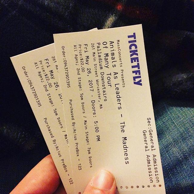 Two left last minute. Who wants em. 22$ Dm us. 🎫🎫 #massachusetts #worcester #animalsasleaders #veilofmaya #sumerianrecords #concert #livemusic #djent #worcesterpalladium