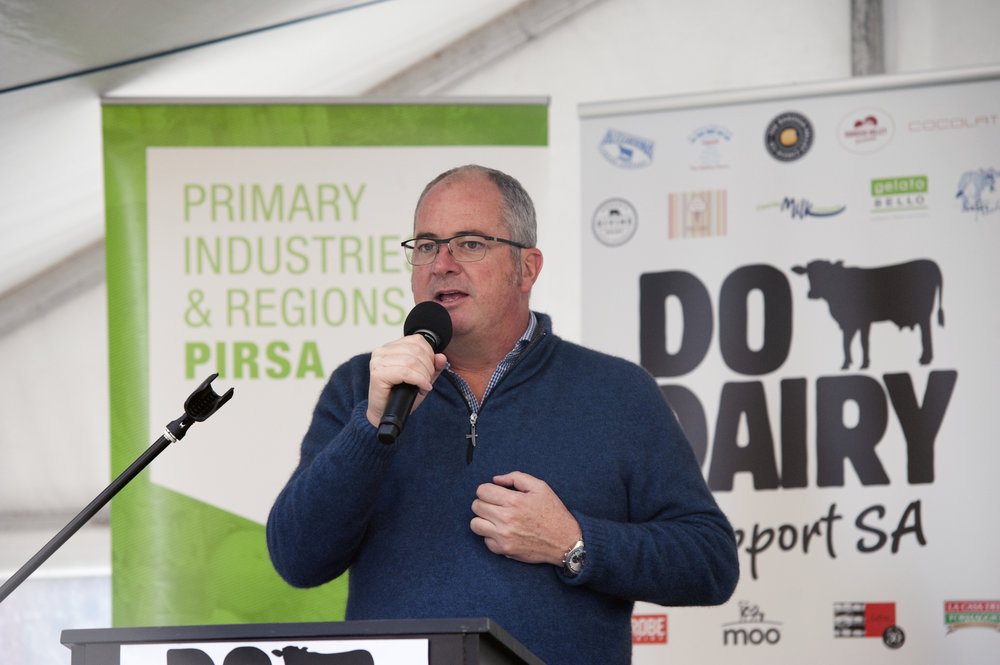 Hon Leon Bignell MP,  South Australia's Minister for Agriculture, Food and Fisheries at the Do Dairy Launch Event 3 July 2016