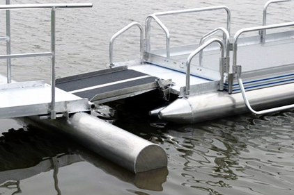 Our 510 series pontoon boats can easily be used as a floating dock. We now have our all aluminum walkway design that quickly attaches to your 510 series boat to be used as a dock and will easily release so you can cruise the lake on your 510 series pontoon boat.