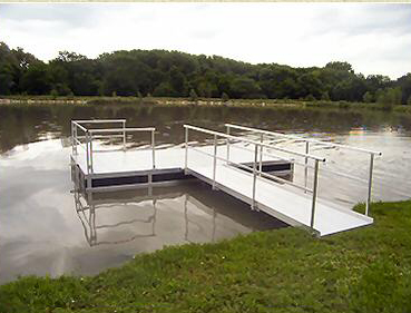 816 dock above shown with optional partial handrails and 12' walkway.