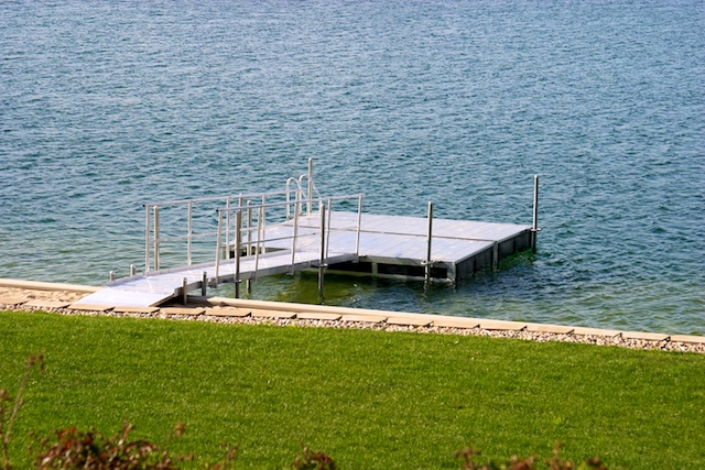 Another 16' x 16' aluminum dock and 16' walkway manufactured and installed by Hotwoods in central Nebraska.