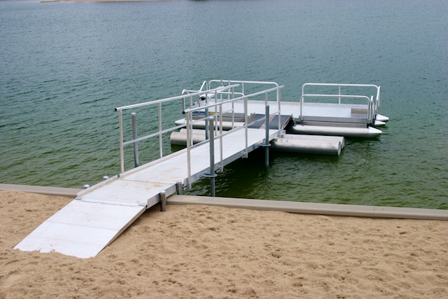 Hotwoods aluminum Walk N Dock installed in central Nebraska.