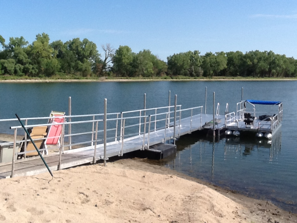 Hotwoods aluminum dock and extended walkway installed in central Nebraska.
