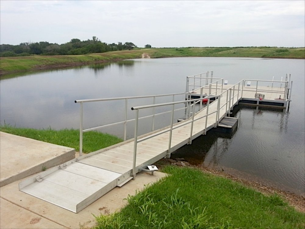 Hotwoods 16' x 16' aluminum dock and extended walkway installed in central Nebraska.