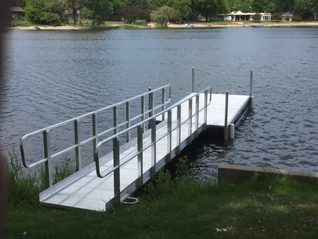 Hotwoods aluminum 612 dock with 16' walkway. Installed by Hotwoods.