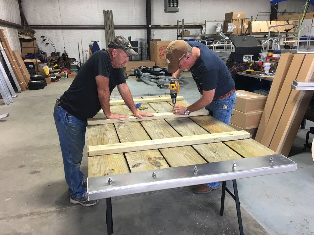 As you see, building the walkway you need with this kit can be done with minimal tools and time, once you have your lumber and a pair of saw horses. ( photo above shows the bottom side )