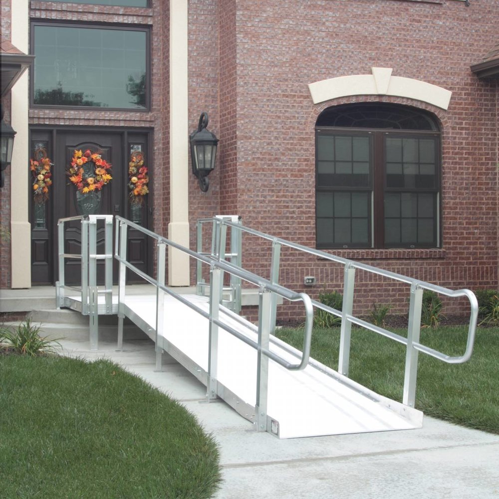 "Limited Lifetime Warranty.  Easy to Assemble.  Ramp sections are welded in lengths of 3', 4' & 5'.  Welded ramp sections are combined to create longer ramp lengths.  Can be easily moved or reconfigured.  Durable and weather resistant.  Little or no site preparation required.  All aluminum construction.  Little or no maintenance.  45° and 60° platforms for those hard to reach landing areas.  Multiple configurations to accomodate most situations.  ADA handrail extensions, guardrails, stairs, and gates available.  Accommodates rises up to 60"".  36"", 42"", & 48"" Wide Ramping available.  Standard 4X4, 4X5, 5X5, 5X6, 5X8, 5X10, & 6X6 Platforms available.  Optional handrail designs available upon request. Multiple configurations possible."