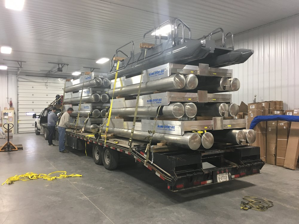 Another load of Hotwoods pontoon boats and Shoreland'r trailers heading out to one of our valued dealers, May Mobile Marine, located in Belfair Washington. If you are in that area please contact Monty at May Mobile Marine, 360-552-2561 for any questions you might have.