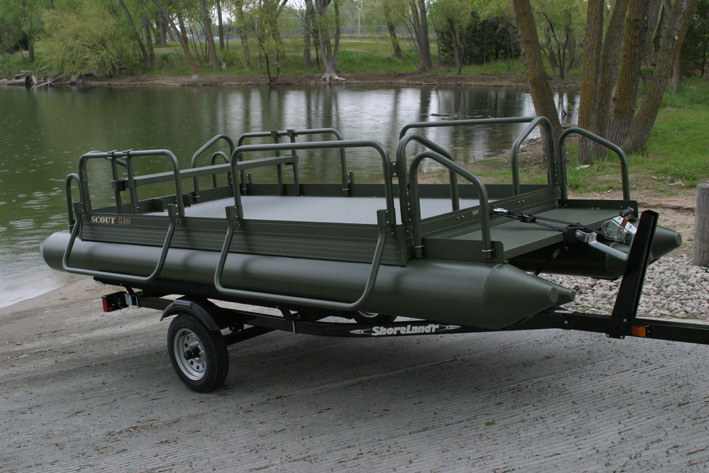 We have powder coated our pontoons this olive drab green in the past. This is not a standard color and would be considered a custom color order, but can be done if so desired by the customer. The boat shown in above photo is a Fish N Sport that was renamed Scout 510 for promotional use and customer request.
