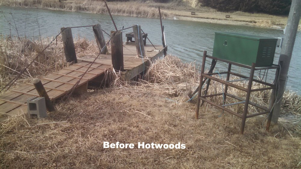A very tired old wooden dock shown above before Hotwood's got involved in south central Nebraska. Our crew came in and removed all the worn out memories above and replaced it with the all aluminum dock and walkway you see below that will be there for many generations to use and enjoy.